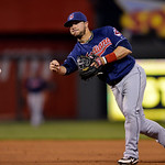 Cleveland Indians shortstop Mike Aviles (4) throws out Kansas City Royals' Eric Hosmer at first base in the fifth inning of their second baseball game of a doubleheader, Sunday, April 28, 20 …