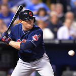 Cleveland Indians' Asdrubal Cabrera takes this pitch in the sixth inning of their second baseball game of a doubleheader against the Kansas City Royals, Sunday, April 28, 2013, in Kansas Cit …
