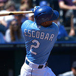 Kansas City Royals' Alcides Escobar (2) fouls off a pitch during the third inning of the first of their two baseball games, Sunday, April 28, 2013, in Kansas City, Mo. (AP Photo/Reed Hoffman …