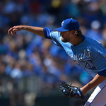 Kansas City Royals relief pitcher Luke Hochevar (44) throws during the ninth inning of the first of their two baseball games against the Cleveland Indians, Sunday, April 28, 2013, in Kansas …