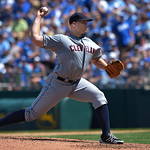 Cleveland Indians starting pitcher Justin Masterson (63) throws against the Kansas City Royals during the fifth inning of the first of their two baseball games, Sunday, April 28, 2013, in Ka …