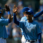 Kansas City Royals' Jarrod Dyson (1) celebrates a 9-0 win over the Cleveland Indians in the first of  two baseball games on Sunday, April 28, 2013, in Kansas City, Mo. (AP Photo/Reed Hoffman …