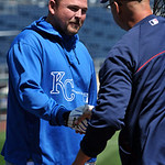 Kansas City Royals' Billy Butler, left, greets Cleveland Indians' manager Terry Francona before the first of their two baseball games on Sunday, April 28, 2013, in Kansas City, Mo. (AP Photo …