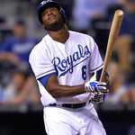 Kansas City Royals' Lorenzo Cain at bat against the Cleveland Indians in the eighth inning of their second baseball game of a doubleheader, Sunday, April 28, 2013, in Kansas City, Mo. (AP P …