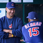 Cleveland Indians' manager Terry Francona talks with Cleveland Indians' Sandy Alomar, Jr. (15) before the second of their two baseball games against the Kansas City Royals, Sunday, April 28, …
