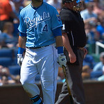 Kansas City Royals' Alex Gordon (4) looks to the scoreboard after striking out during the third inning of the first of their two baseball games, Sunday, April 28, 2013, in Kansas City, Mo. ( …