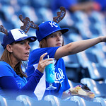 A couple of Kansas City Royals' Mike Moustakis fans wear their moose hats and wait for the start of the second baseball game between the Royals and Cleveland Indians, Sunday, April 28, 2013, …