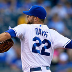 Kansas City Royals starting pitcher Wade Davis (22) throws against the Cleveland Indians during the first inning of a baseball game, Monday, April 29, 2013, in Kansas City, Mo. (AP Photo/Ree …