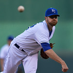 Kansas City Royals starting pitcher Wade Davis warms up at the start of<br/>the first inning of a baseball game between the Kansas City Royals and Cleveland Indians, Monday, April 29, 2013, in &#8230;