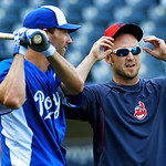 Kansas City Royals' Jeff Francoeur, left, and Cleveland Indians' Ryan Raburn talk before their baseball game, Monday, April 29, 2013, in Kansas City, Mo. (AP Photo/Reed Hoffmann)