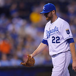 Kansas City Royals starting pitcher Wade Davis (22) leaves the game during the fifth inning of a baseball game between the Kansas City Royals and Cleveland Indians, Monday, April 29, 2013, i …
