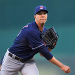 Cleveland Indians starting pitcher Ubaldo Jimenez warms up prior to the first inning of a baseball game between the Kansas City Royals and Cleveland Indians, Monday, April 29, 2013, in Kansa …