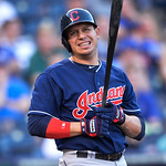 Cleveland Indians' Asdrubal Cabrera during his first time at bat in the first inning of a baseball game between the Kansas City Royals and Cleveland Indians, Monday, April 29, 2013, in Kansa …