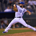 Kansas City Royals' Tim Collins throws during the eighth inning of a baseball game between the Kansas City Royals and Cleveland Indians, Monday, April 29, 2013, in Kansas City, Mo. (AP Photo …