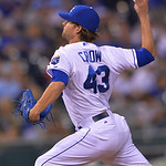 Kansas City Royals relief pitcher Aaron Crow entered the game during the seventh inning of a baseball game between the Kansas City Royals and Cleveland Indians, Monday, April 29, 2013, in Ka …
