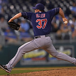 Cleveland Indians relief pitcher Cody Allen throws during the ninth inning of a baseball game between the Kansas City Royals and Cleveland Indians, Monday, April 29, 2013, in Kansas City, Mo …