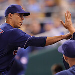 Cleveland Indians starting pitcher Ubaldo Jimenez collects high fives after coming out of the game in the eighth inning of a baseball game Monday, April 29, 2013, in Kansas City, Mo. (AP Pho …