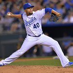 Kansas City Royals relief pitcher Kelvin Herrera throws during the eighth inning of a baseball game Monday, April 29, 2013, in Kansas City, Mo. (AP Photo/Reed Hoffmann)