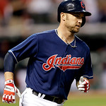 Cleveland Indians' Ryan Raburn runs the bases after hitting a two-run home run off Philadelphia Phillies relief pitcher Chad Durbin in the fifth inning of a baseball game, Tuesday, April 30, …