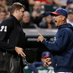 Cleveland Indians manager Terry Francona, right, argues with home plate umpire Jordan Baker in the fourth inning of a baseball game against the New York Yankees on Tuesday, April 9, 2013, in …