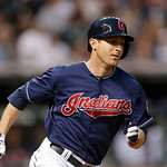 Cleveland Indians' Drew Stubbs runs the bases for a double off New York Yankees starting pitcher Andy Pettitte in the third inning of a baseball game, Tuesday, April 9, 2013, in Cleveland. ( …