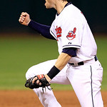 Cleveland Indians' Jason Donald pumps his fist after completing a double play to get Carl Crawford out at second base in the seventh inning of a baseball game, Thursday, Aug. 9, 2012, in Cle …