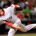 Boston Red Sox relief pitcher Junichi Tazawa delivers in the seventh inning of a baseball game against the Cleveland Indians, Thursday, Aug. 9, 2012, in Cleveland. (AP Photo/Tony Dejak)