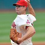 Cleveland Indians pitcher Corey Kluber delivers against the Boston Red Sox in the first inning of a baseball game on Sunday, Aug. 12, 2012, in Cleveland. (AP Photo/David Richard)