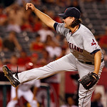 Cleveland Indians pitcher Chris Perez pitches to the Los Angeles Angels in the ninth inning, picking up a save in the Indians' 6-2 win in a baseball game in Anaheim, Calif., Monday, Aug. 13, …