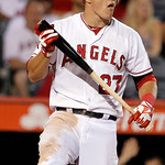 Los Angeles Angels' Mike Trout reacts after striking out for the final out in a 6-2 loss to the Cleveland Indians  in a baseball game in Anaheim, Calif., Monday, Aug. 13, 2012. (AP Photo/Ree …