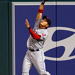 Cleveland Indians right fielder Shin-Soo Choo, of South Korea, catches a fly off the Los Angeles Angels' Albert Pujols in the seventh inning of a baseball game in Anaheim, Calif., Monday, Au …