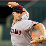 Cleveland Indians starter Justin Masterson pitches to the Los Angeles Angels in the first inning of a baseball game in Anaheim, Calif., Monday, Aug. 13, 2012. (AP Photo/Reed Saxon)