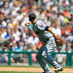 Cleveland Indians third baseman Brent Lillibridge throws to first during the fourth inning of a baseball game against the Detroit Tigers in Detroit, Sunday, Aug. 5, 2012. (AP Photo/Carlos Os …