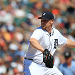 Detroit Tigers relief pitcher Phil Coke prepares to throw during the sixth inning of a baseball game against the Cleveland Indians in Detroit, Sunday, Aug. 5, 2012. (AP Photo/Carlos Osorio)