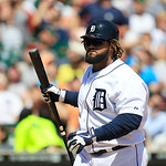 Detroit Tigers' Prince Fielder prepares to bat during the fifth inning of a baseball game against the Cleveland Indians in Detroit, Sunday, Aug. 5, 2012. (AP Photo/Carlos Osorio)