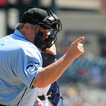 Home plate umpire Joe West calls a strike during the second inning of a baseball game between the Detroit Tigers and the Cleveland Indians in Detroit, Sunday, Aug. 5, 2012. (AP Photo/Carlos  …
