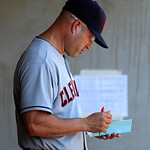 Cleveland Indians manager Manny Acta is seen in the dugout during the fifth inning of a baseball game against the Detroit Tigers in Detroit, Sunday, Aug. 5, 2012. (AP Photo/Carlos Osorio)