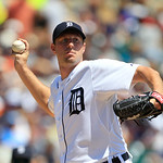 Detroit Tigers starting pitcher Max Scherzer throws to first base during the fourth inning of a baseball game against the Cleveland Indians in Detroit, Sunday, Aug. 5, 2012. (AP Photo/Carlos …