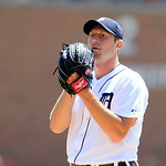 Detroit Tigers starting pitcher Max Scherzer prepares to throw during the first inning of a baseball game against the Cleveland Indians in Detroit, Sunday, Aug. 5, 2012. (AP Photo/Carlos Oso …