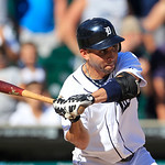 Detroit Tigers' Omar Infante bats during the tenth inning of a baseball game against the Cleveland Indians in Detroit, Sunday, Aug. 5, 2012. (AP Photo/Carlos Osorio)