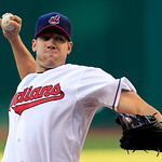 Cleveland Indians starting pitcher Zach McAllister delivers in the first inning of a baseball game against the Minnesota Twins, Monday, Aug. 6, 2012, in Cleveland. (AP Photo/Tony Dejak)