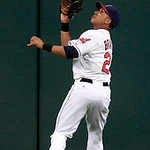 Cleveland Indians' Michael Brantley catches a fly ball hit by Minnesota Twins' Justin Morneau in the sixth inning of a baseball game, Monday, Aug. 6, 2012, in Cleveland. (AP Photo/Tony Dejak …