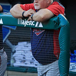 Minnesota Twins manager Ron Gardenhire watches in the first inning of a baseball game against the Cleveland Indians, Monday, Aug. 6, 2012, in Cleveland. (AP Photo/Tony Dejak)