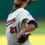 Minnesota Twins starting pitcher Samuel Deduno delivers in the first inning of a baseball game against the Cleveland Indians, Tuesday, Aug. 7, 2012, in Cleveland. (AP Photo/Tony Dejak)