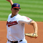 Cleveland Indians' Justin Masterson pitches in the second inning of a baseball game against the Minnesota Twins, Wednesday, Aug. 8, 2012, in Cleveland. (AP Photo/Tony Dejak)