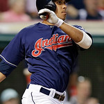 Cleveland Indians' Michael Brantley watches his RBI single off Toronto Blue Jays starting pitcher Josh Johnson in the fourth inning of a baseball game Tuesday, July 9, 2013, in Cleveland. (A …