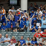 Toronto Blue Jays fans cheer before the team's baseball game against the Cleveland Indians on Tuesday, July 9, 2013, in Cleveland. (AP Photo/Mark Duncan)
