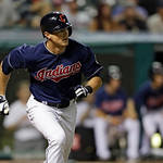 Cleveland Indians' Drew Stubbs races toward first after a double in the eighth inning of a baseball game against the Toronto Blue Jays Tuesday, July 9, 2013, in Cleveland. The hit was the 50 …