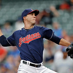 Cleveland Indians starting pitcher Ubaldo Jimenez delivers against the Toronto Blue Jays in the first inning of a baseball game Tuesday, July 9, 2013, in Cleveland. (AP Photo/Mark Duncan)