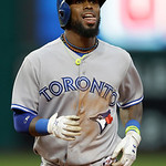 Toronto Blue Jays' Jose Reyes reacts after getting tagged out at second base trying to stretch a single into a double in the sixth inning of a baseball game Wednesday, July 10, 2013, in Clev …